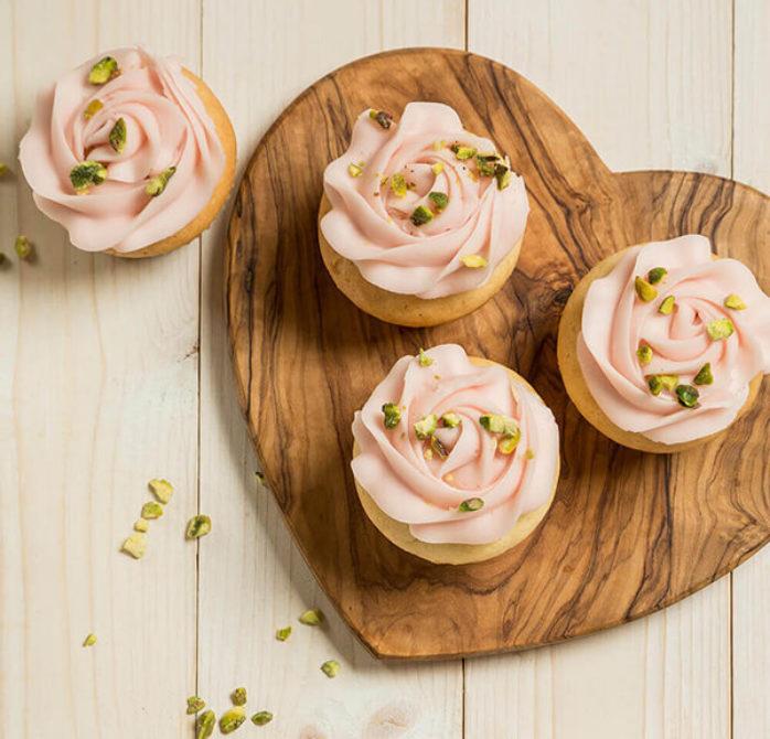 Vegan Rosewater & Pistachio Cupcakes using Macphie Vegan Cake Mix