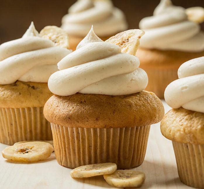 Vegan Banana Muffins with Cinnamon Frosting using Macphie Vegan Cake Mix