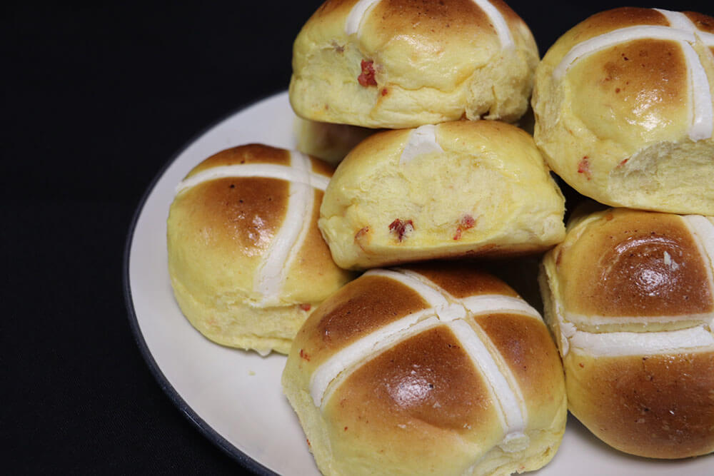 Cheese & Chorizo Hot Cross Buns