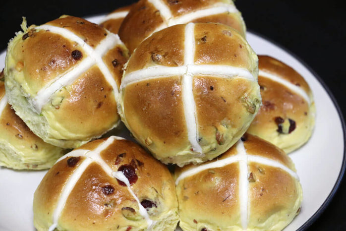 White Chocolate, Cranberry & Pistachio Hot Cross Buns